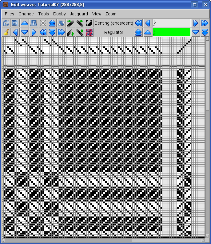 denting, cards, weave in ArahWeave software for weaving