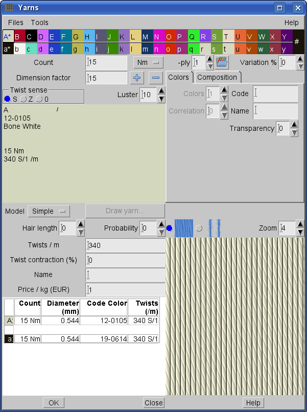 design yarns in ArahWeave software for weaving